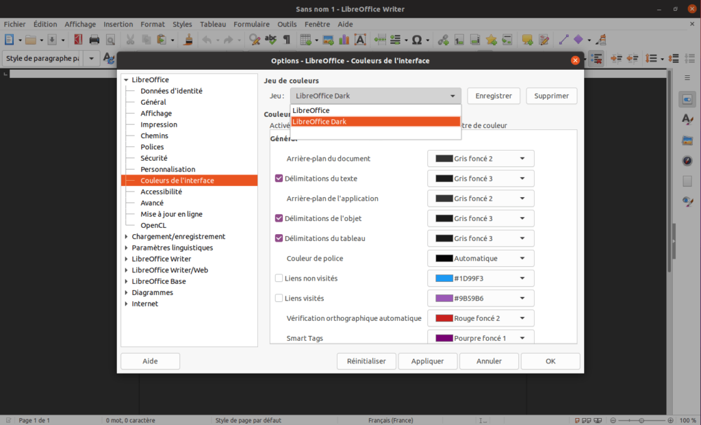 LibreOoffice 7.2 - thème sombre