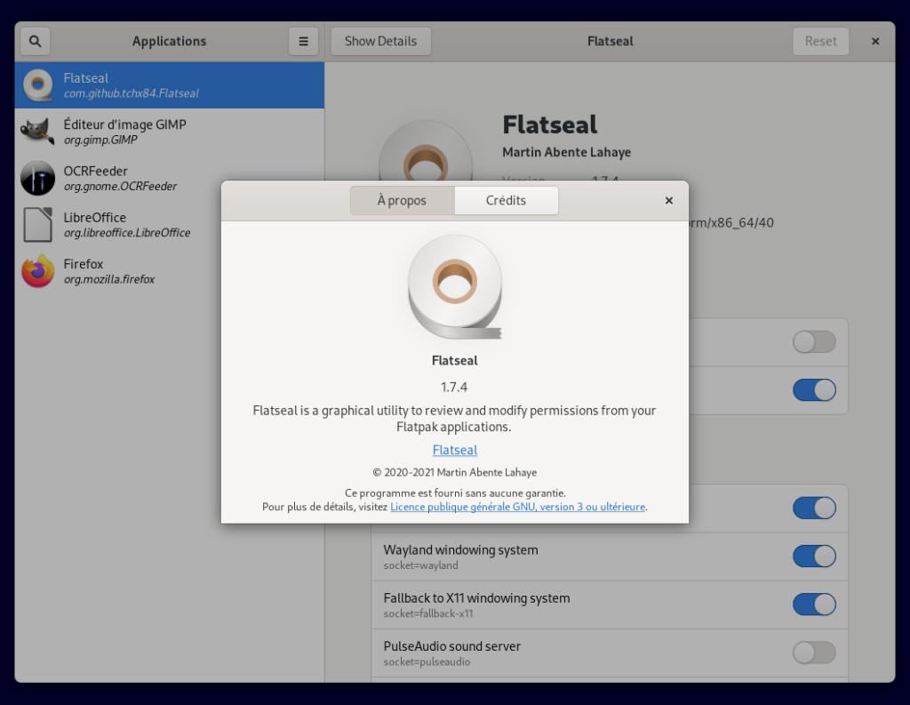 Flatseal pour modifier permissions d'une application Flatpak