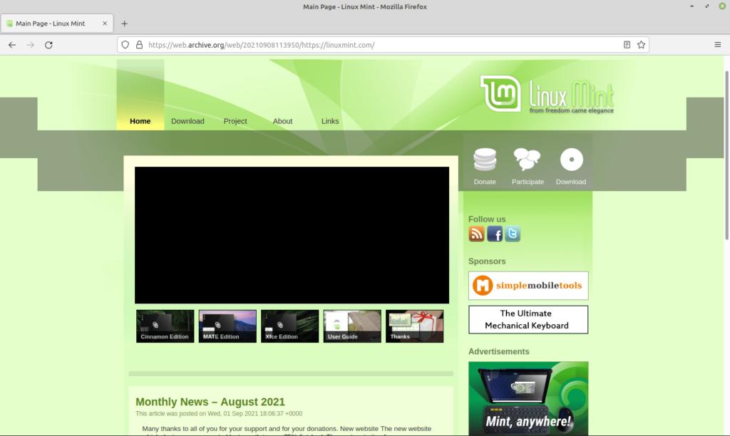Page d'accueil de l'ancien site de Linux Mint sur ordinateur.