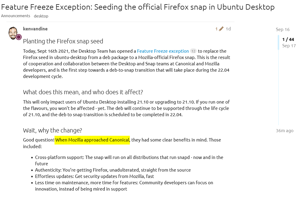 Feature Freeze Exception: Seeding the official Firefox snap in Ubuntu Desktop