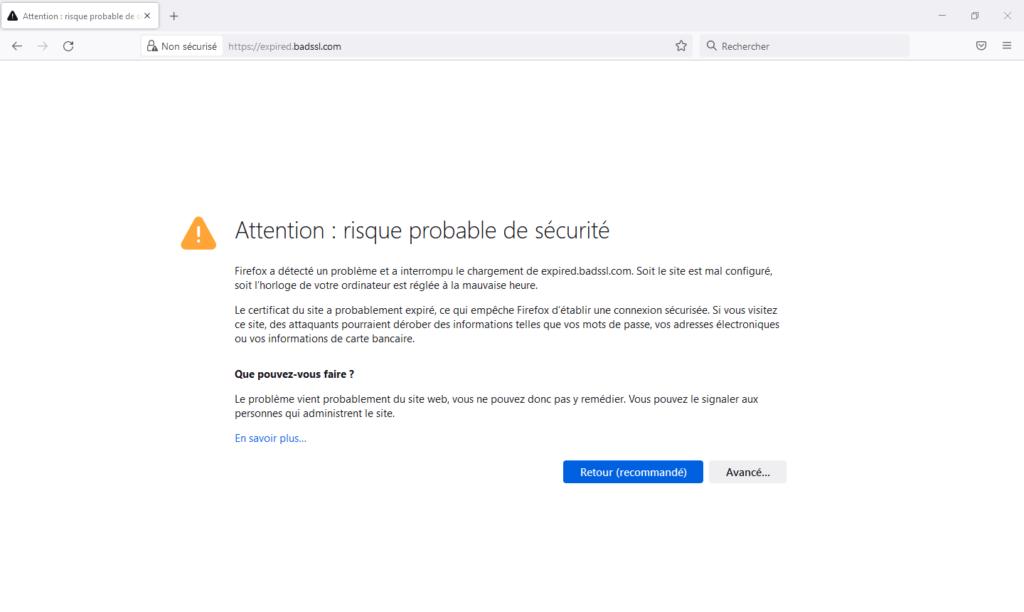 Firefox 92 - page d'erreur de certificat