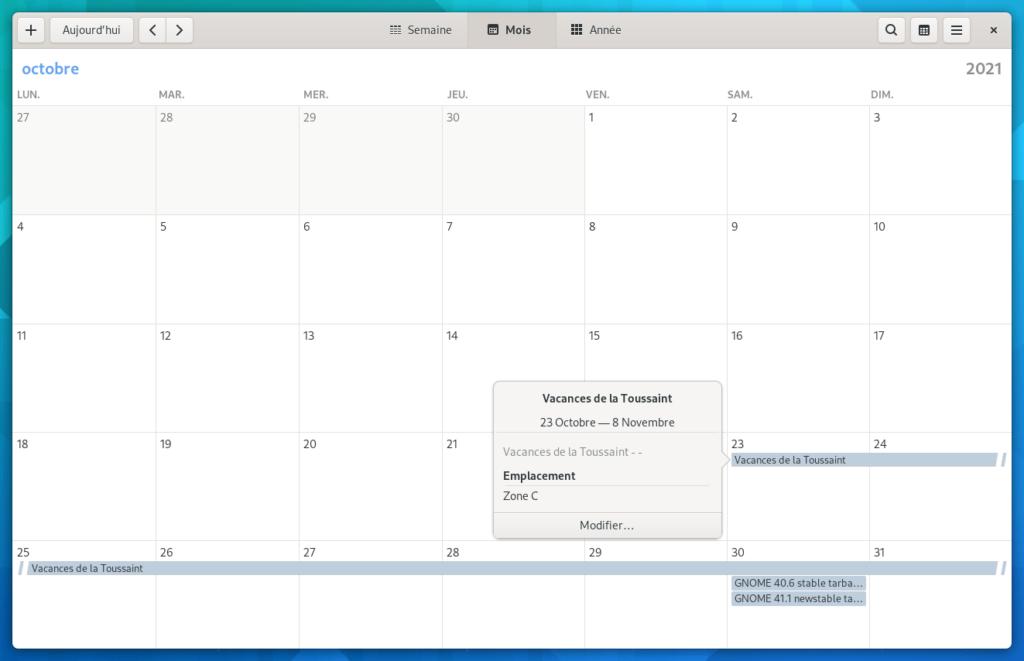 gnome calendar - event ics