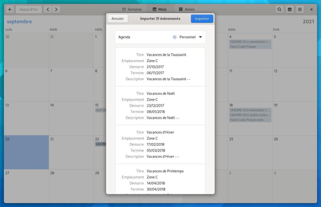 gnome calendar - import ics