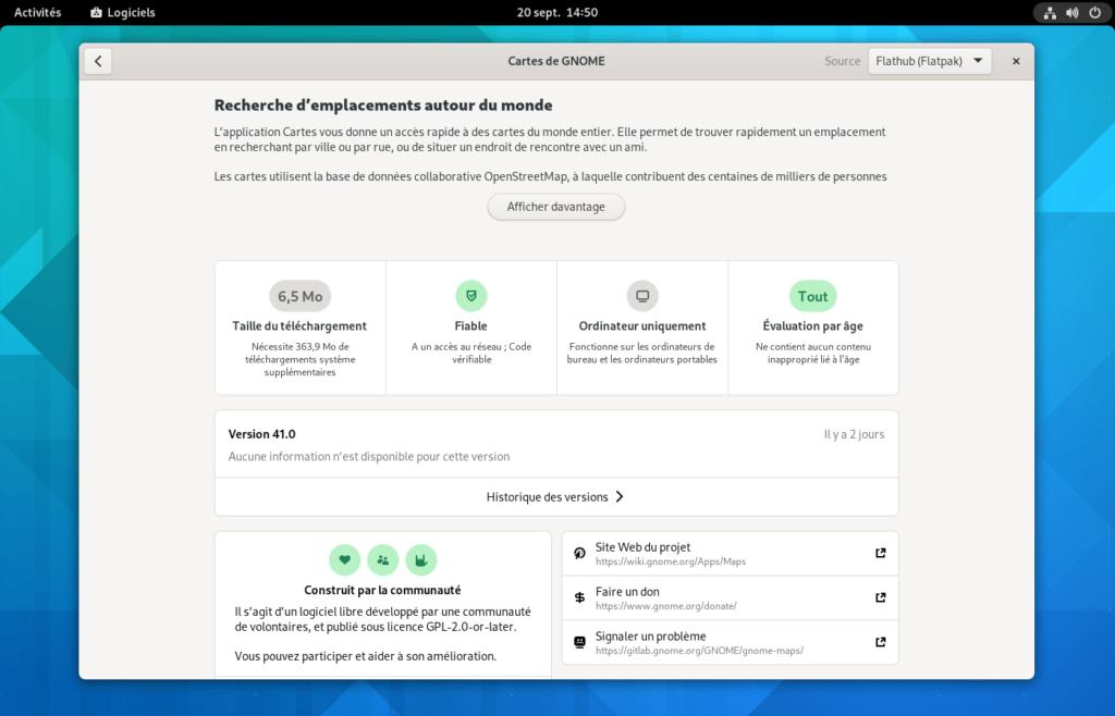 gnome software - détail paquet