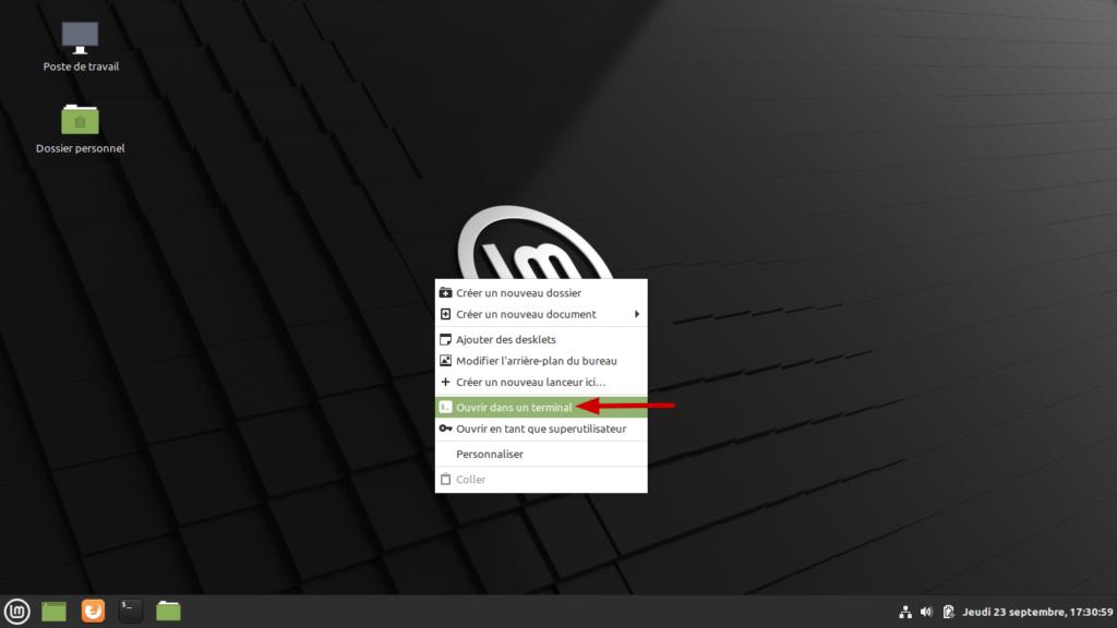Linux Mint - ouvrir dans un terminal depuis le bureau