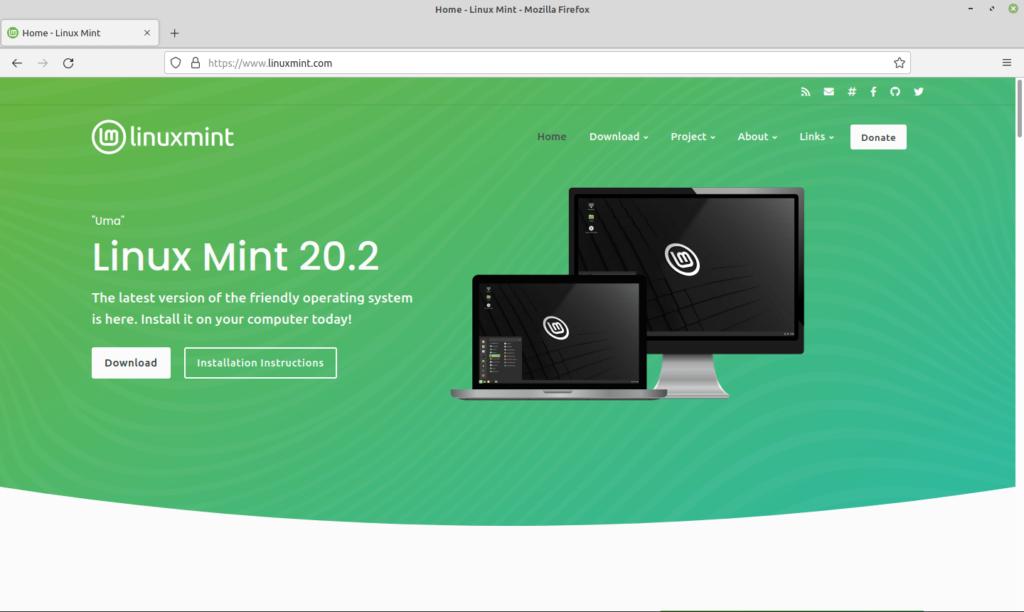 Page d'accueil du nouveau site de Linux Mint sur ordinateur.