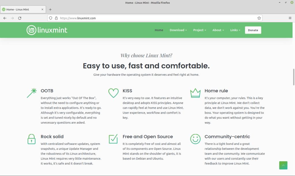 Nouveau site linux mint - Accueil section why choose