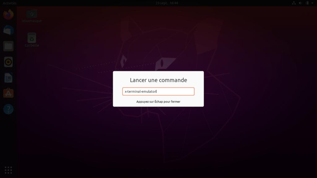 Ubuntu - ouvrir terminal depuis fenêtre commande - commande générique