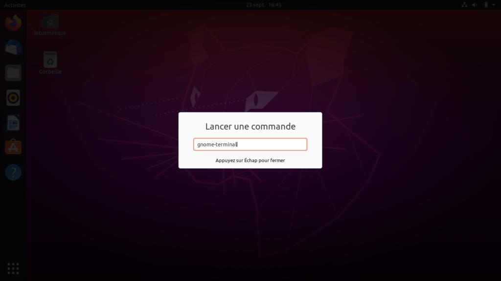Ubuntu - ouvrir terminal depuis fenêtre commande