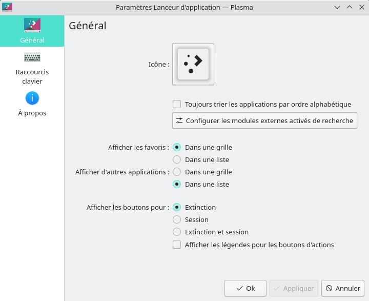 KDE Plasma 5.23 - Paramètres kickoff