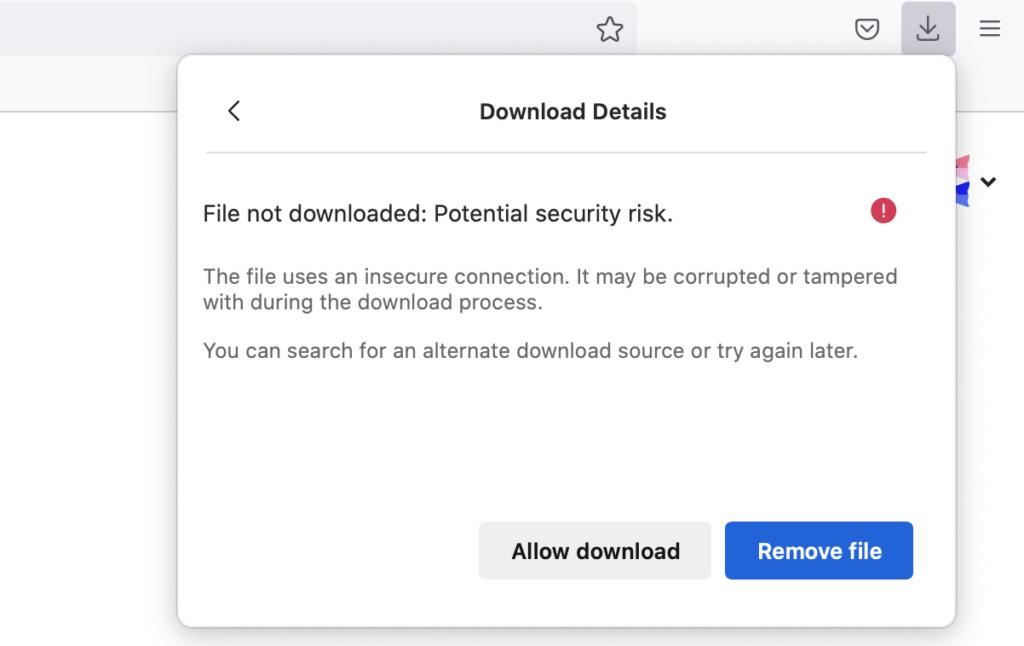 Téléchargement non sécurisé dans Firefox 93