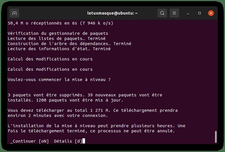 Validation pour mettre à niveau vers Ubuntu 21.10