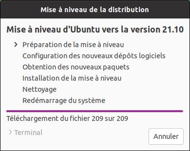 Préparation mise à niveau vers Ubuntu 21.10