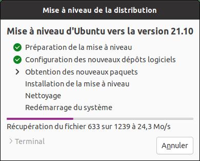 Application de la mise à niveau vers Ubuntu 21.10