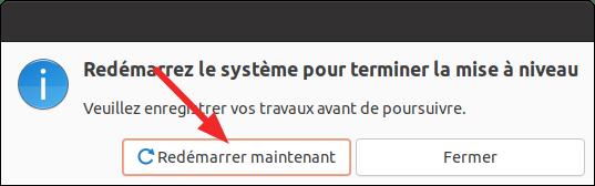 Redémarrer à la fin de la mise à niveau vers Ubuntu 21.10